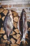 2 больших копченых рыбы висят на предпосылке штабелированного швырка Стоковое Изображение