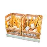2 больших корзины с различными хлебами Стоковое Изображение RF