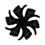 6 больших пальцев руки вверх по руке подписывает внутри вокруг абстрактного символа, черноты и whit Стоковое Изображение RF