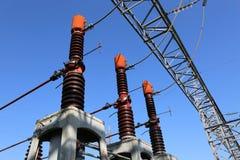 3 больших переключателя выключателей в электростанции для produc энергии Стоковые Изображения
