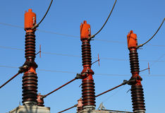 3 больших переключателя выключателей в электростанции Стоковые Фотографии RF