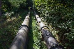2 больших черных трубы водопровода, сходясь в расстоянии Стоковая Фотография RF