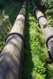 2 больших черных трубы водопровода, сходясь в расстоянии Стоковое фото RF
