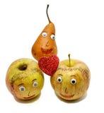 2 больших яблока с красным сердцем и ГРУШЕЙ Стоковые Изображения RF