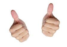 2 большого пальца руки вверх на белизне Стоковые Изображения