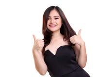 2 большого пальца руки вверх стильной женщины Стоковое Изображение