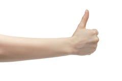 Большого пальца руки выставок молодой женщины жест правого поднимающий вверх Стоковые Изображения RF