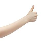 Большого пальца руки выставок молодой женщины жест правого поднимающий вверх Стоковые Изображения