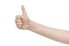 Большого пальца руки выставок молодой женщины жест правого поднимающий вверх Стоковое Изображение