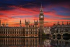 Большое Бен, дворец Вестминстера (парламент Великобритании) Стоковое Изображение