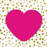Большое белое розовое сердце на предпосылке малого золота ставит точки Стоковые Изображения RF