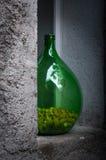 Большое зеленое собрание пробочки вазы в окне Стоковые Изображения