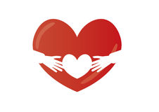 Большое и малое сердце с руками Стоковые Фотографии RF