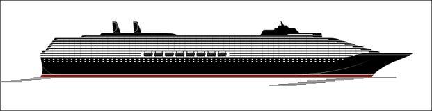 Большое и современное туристическое судно Огромный вкладыш идет через Ocyan Взгляд со стороны, силуэт иллюстрация вектора