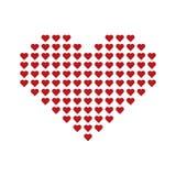 Большое красное сердце вектора состоя из малых сердец Стоковые Изображения RF