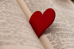 Большое красное сердце между книгой стоковые фото