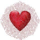 Большое красное сердце 3D падая врозь Стоковая Фотография