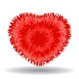 Большое мягкое красное сердце изолированное на белой предпосылке Стоковое Изображение