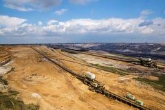Большое отверстие, разработка горных пластов Garzweiler лигнита (бурого угля), семенозачаток стоковые фото