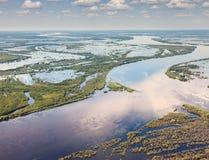 Большое река в периоде потока, взгляд сверху Стоковое Изображение RF