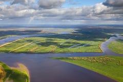 Большое река cflm в осени, взгляд сверху Стоковое Изображение