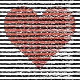 большое сердце Абстрактной нарисованные рукой ходы чернил также вектор иллюстрации притяжки corel Стоковое Изображение