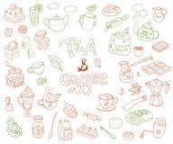 Большое собрание вектора tae и кофе doodle Оборудование de Стоковые Изображения