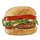 Большой бургер с зажаренными котлетами бесплатная иллюстрация