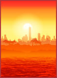большой вектор захода солнца иллюстрации города Стоковые Изображения