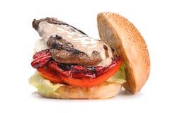 Большой вкусный бургер гамбургера стейка изолированный на белизне Стоковое фото RF