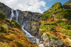 Большой водопад Siklawa Высокие горы Tatra, Стоковые Изображения
