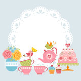 большой высокий чай партии завтрака приглашения иллюстрация вектора