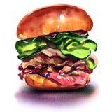 Большой гамбургер изолированный на белой предпосылке бесплатная иллюстрация