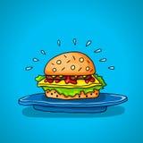 Большой гамбургер на голубой предпосылке Стоковые Изображения