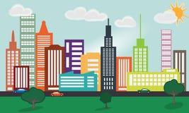 Большой город в расстоянии Стоковые Фотографии RF