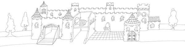 Большой заколдованный замок с drawbridge, Китаем нарисованным цветом иллюстрация штока