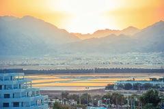 Большой заход солнца на Ближнем Востоке Стоковое фото RF