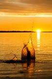 Большой заход солнца падения воды Стоковые Фото