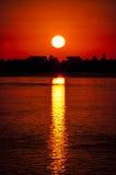 большой заход солнца Стоковые Изображения RF