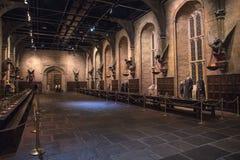 Большой зал на Hogwarts установил в Leavesden стоковые изображения