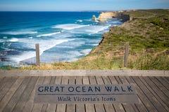 Большой знак прогулки океана Стоковое Изображение RF