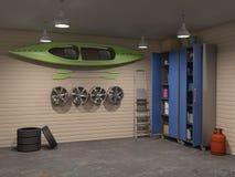 Большой интерьер гаража с много вещей Стоковое Изображение RF