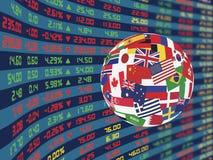 Большой дисплей ежедневных рыночной цены и цитат фондовой биржи Стоковое Фото