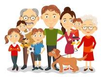 Большой и счастливый портрет семьи с детьми, родителями, вектором дедов бесплатная иллюстрация