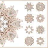 Большой комплект винтажных круговых орнаментов декоративный сбор винограда элементов Комплект красивых этнических, восточных орна Стоковые Изображения