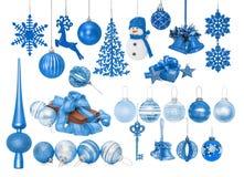 Большой комплект голубых безделушек Нового Года для рождественской елки Стоковое Фото