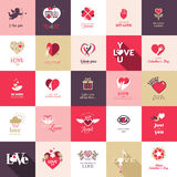 Большой комплект значков на день валентинок Стоковая Фотография