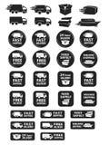 Большой комплект значков доставки и поставки Стоковые Изображения