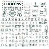 Большой комплект 118 значков для магазина вебсайта онлайн стоковое фото rf