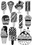 Большой комплект дизайна zendoodle мороженого для страницы элемента, взрослого или детей книжка-раскраски дизайна также вектор ил Стоковое фото RF